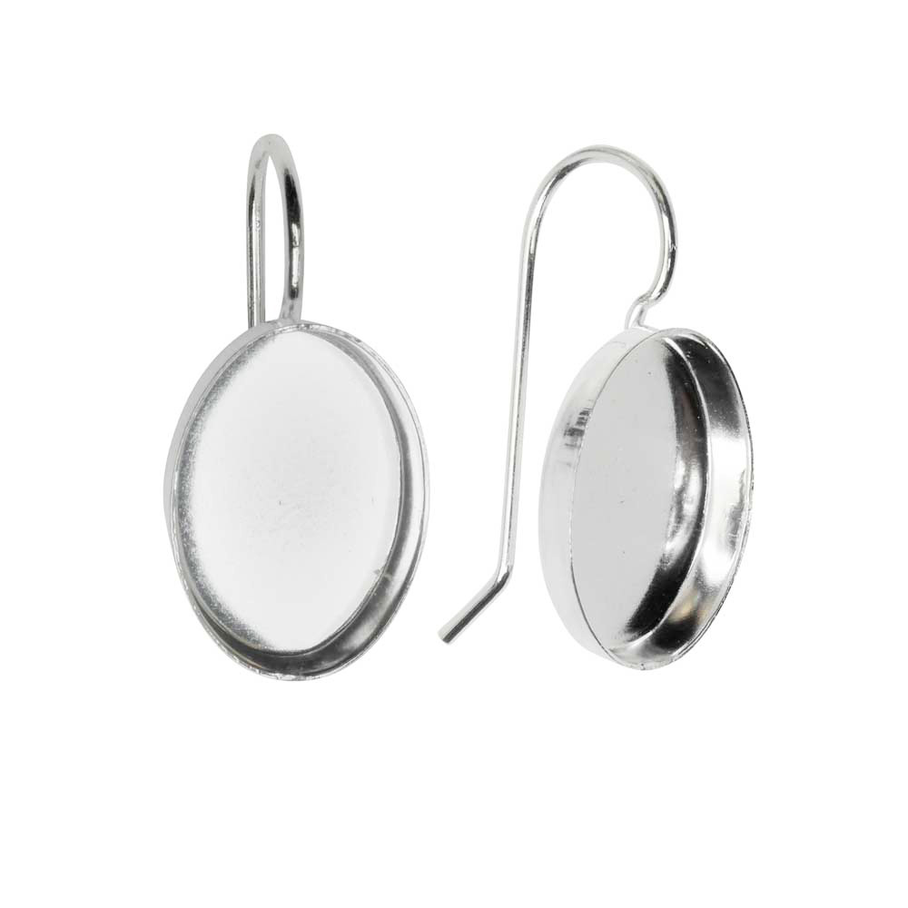 Earring Wire, Oval Bezel 10x14mm, Bright Silver, 1 Pair, by Nunn Design