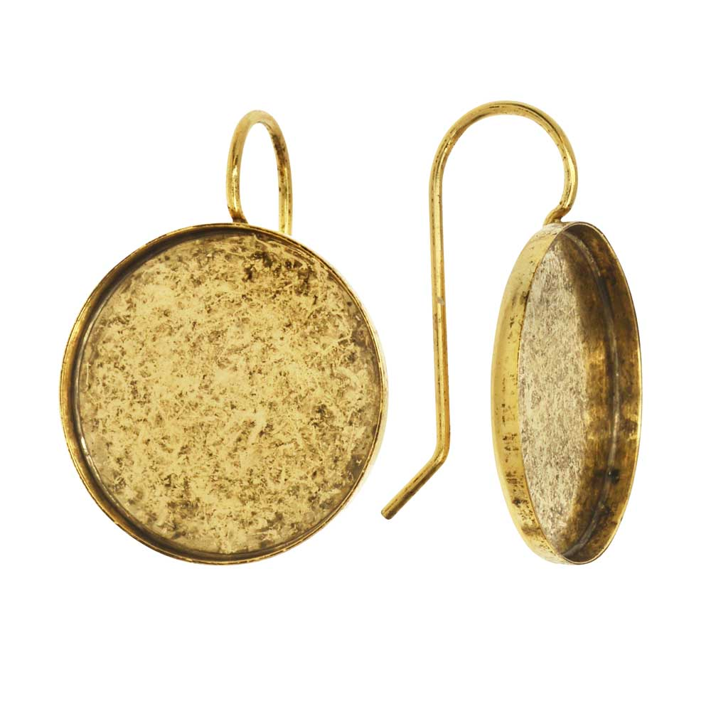 Earring Wire, Circle Bezel 18mm, Antiqued Gold, 1 Pair, by Nunn Design