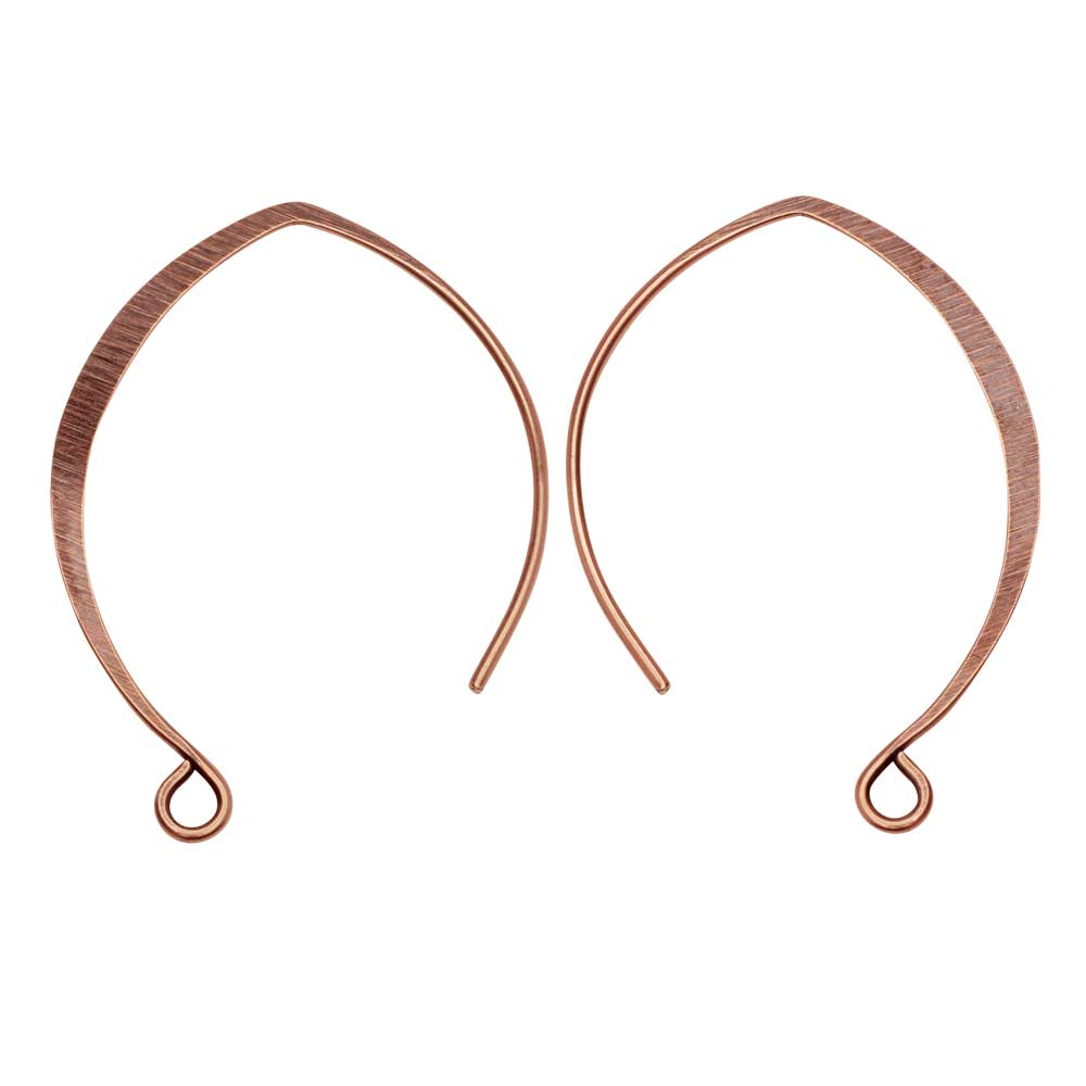 Ear Wire, V-Style 33mm, Antiqued Copper, 1 Pair, by Nunn Design