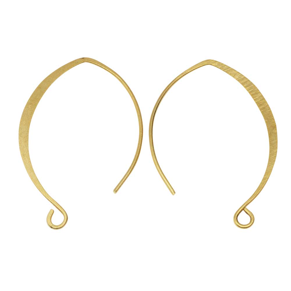 Ear Wire, V-Style 33mm, Antiqued Gold 1 Pair, by Nunn Design