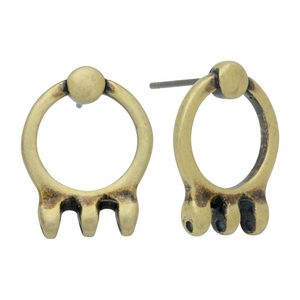 Cymbal Earring Posts for SuperDuo Beads, Farali III, 3-Hole 18x14mm, 1 Pair, Antiqued Brass Plated