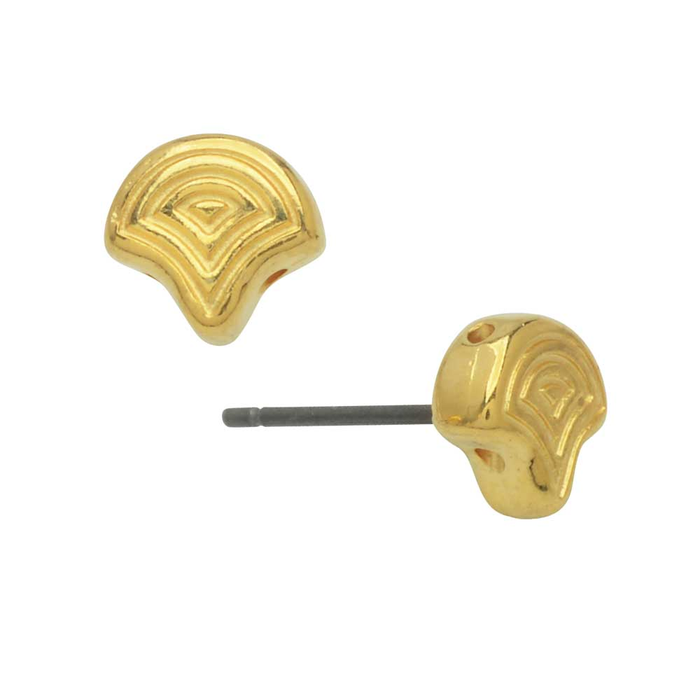 Cymbal Earring Posts for Ginko Beads, Polykarpos, 2-Hole Leaf 7.5x8mm, 1 Pair, 24k Gold Plated