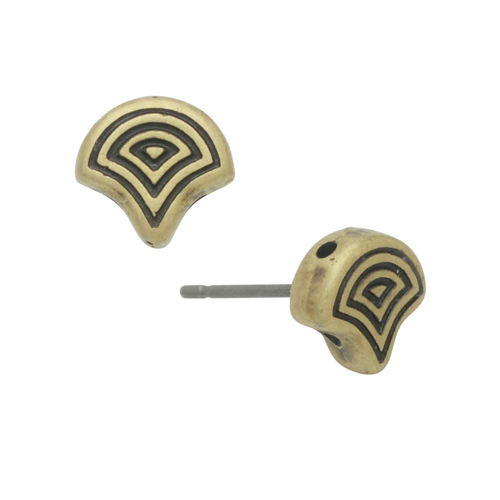 Cymbal Earring Posts for Ginko Beads, Polykarpos, 2-Hole Leaf 7.5x8mm, 1 Pair, Antiqued Brass Plated