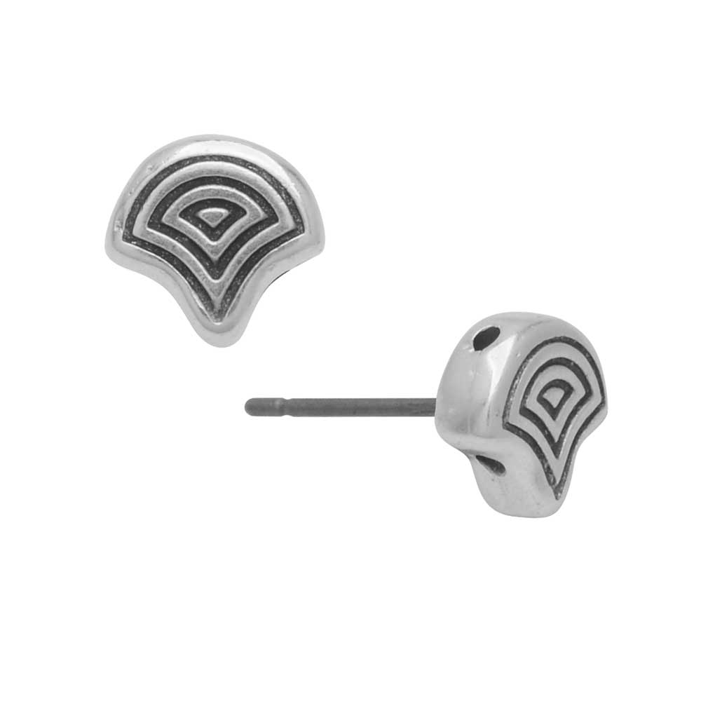 Cymbal Earring Posts for Ginko Beads, Polykarpos, 2-Hole Leaf 7.5x8mm, 1 Pair, Antiqued Silver Plated