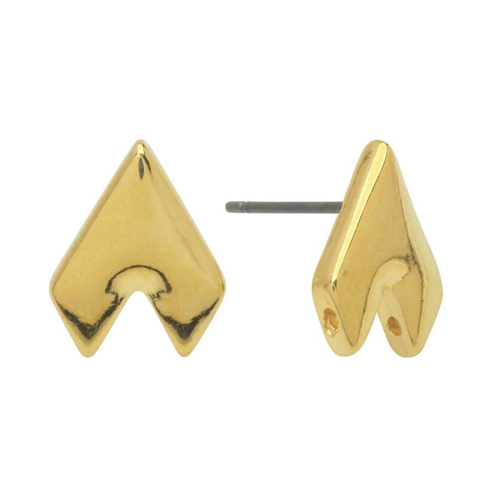 Cymbal Earring Posts for GemDuo Beads, Provatas II, Half-Diamond 13x10mm, Half-Diamond , 1 Pair, 24k Gold Plated