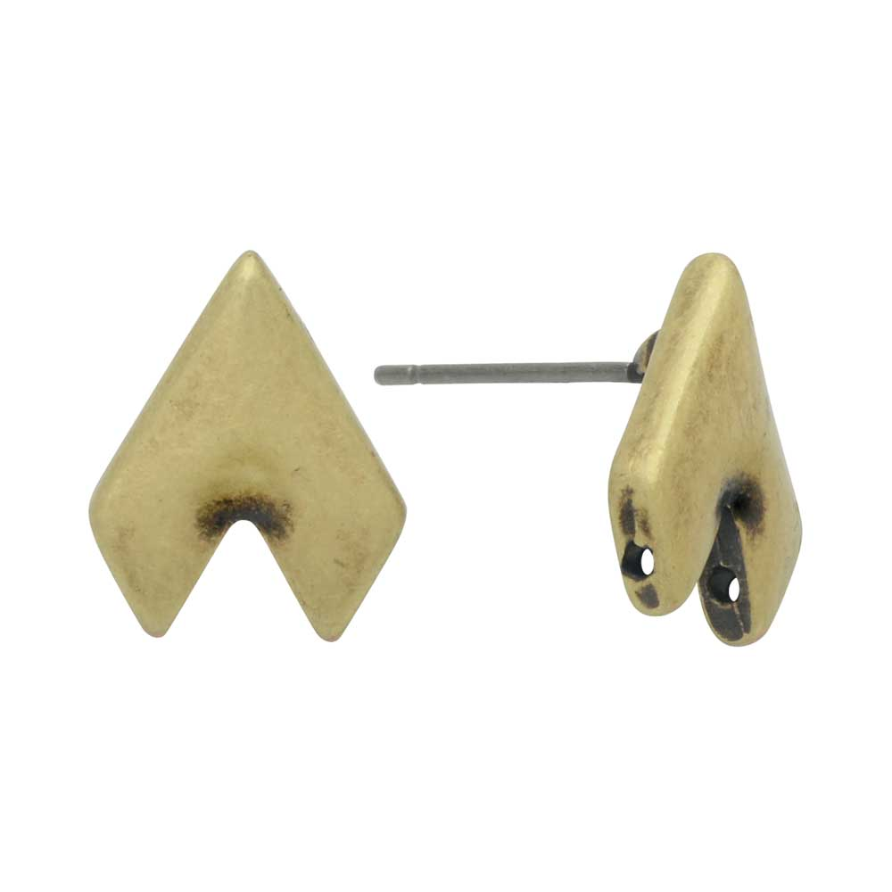 Cymbal Earring Posts for GemDuo Beads, Provatas II, Half-Diamond 13x10mm, 1 Pair, Antiqued Brass Plated