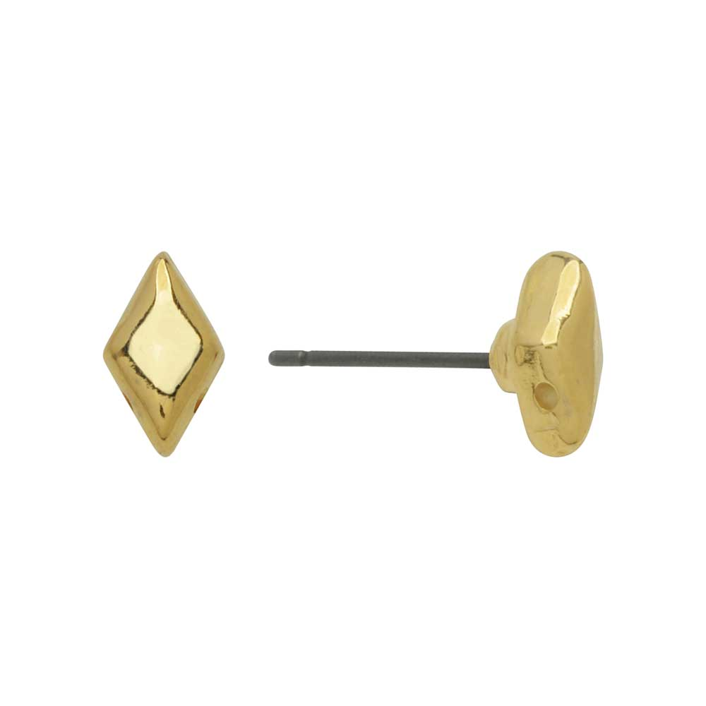 Cymbal Earring Posts for GemDuo Beads, Provatas, Diamond 8x5mm, 1 Pair, 24k Gold Plated