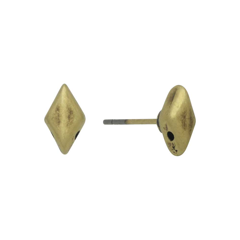 Cymbal Earring Posts for GemDuo Beads, Provatas, Diamond 8x5mm, 1 Pair, Antiqued Brass Plated
