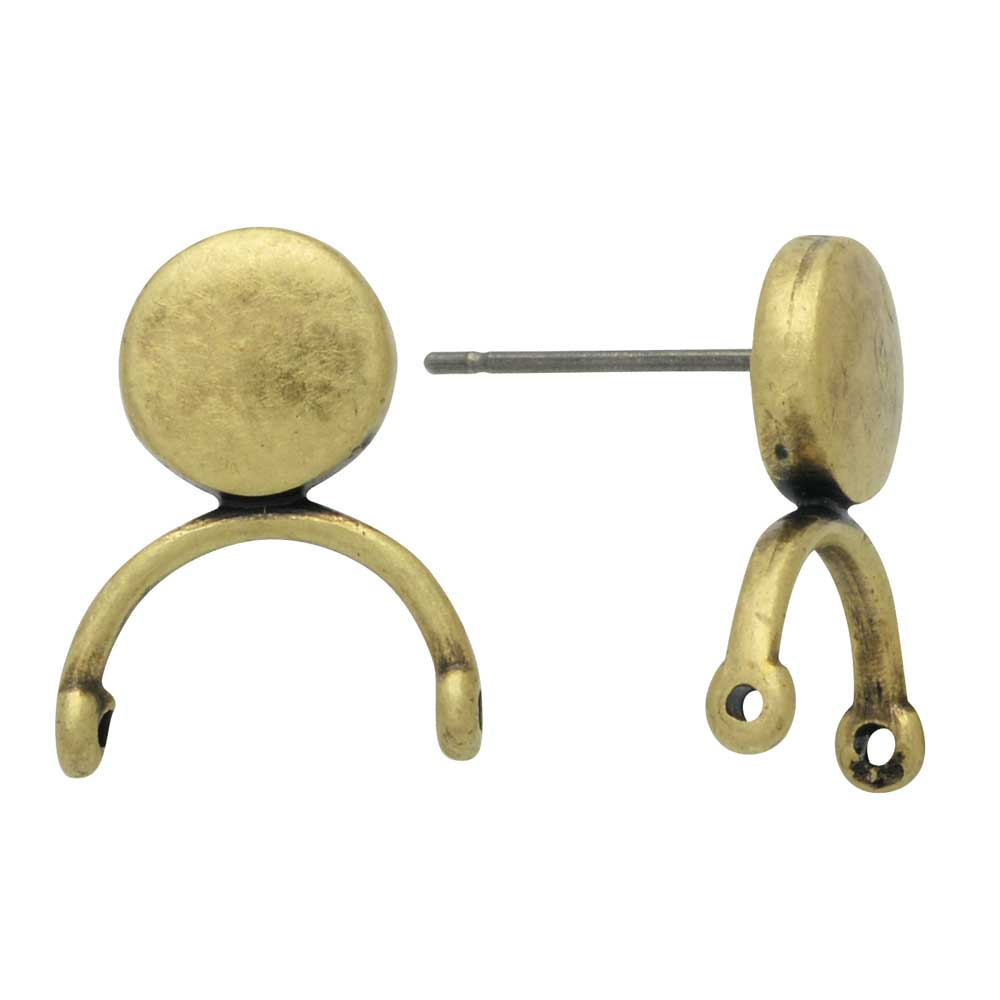 Cymbal Earring Posts for Delica & Round Beads, Venio II, Round 14.5x12mm, 1 Pair, Antiqued Brass Plated