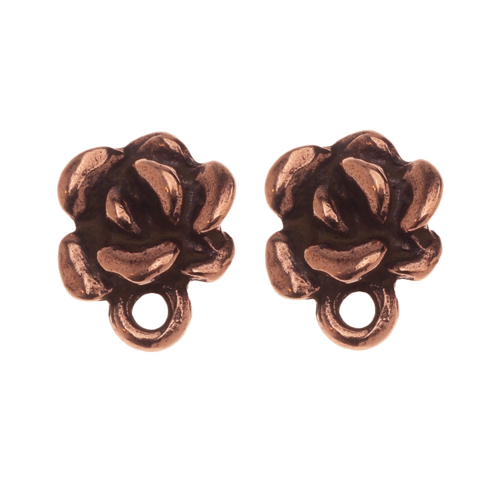 Earring Post, Succulent with Loop 9.5x8mm, 1 Pair, Antiqued Copper, By TierraCast
