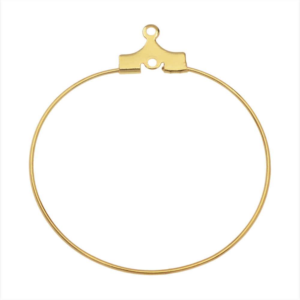 Beadable Open Wire Frame for Earrings or Pendants, Hoop 35mm, 12 Pieces, Gold Plated