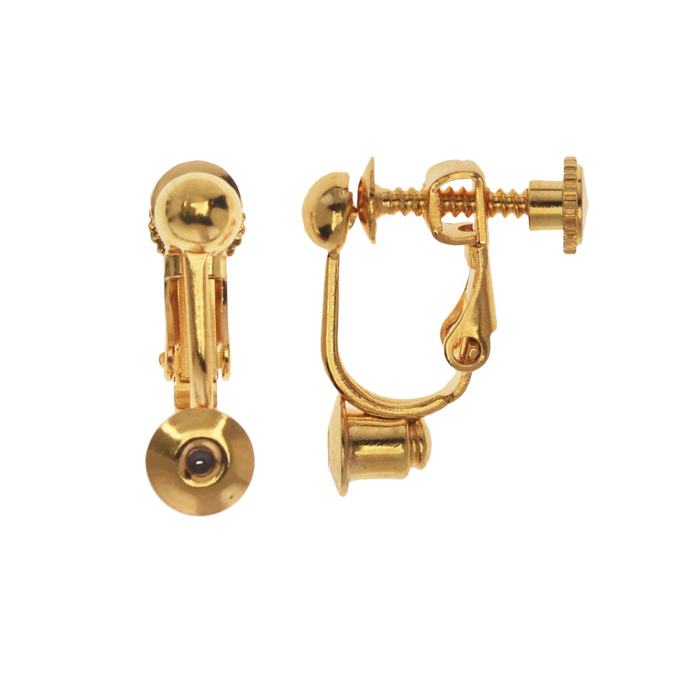 Earring Findings, Post to Clip on Converter with Screw Back 17x14mm, 2 Pairs, Gold Plated