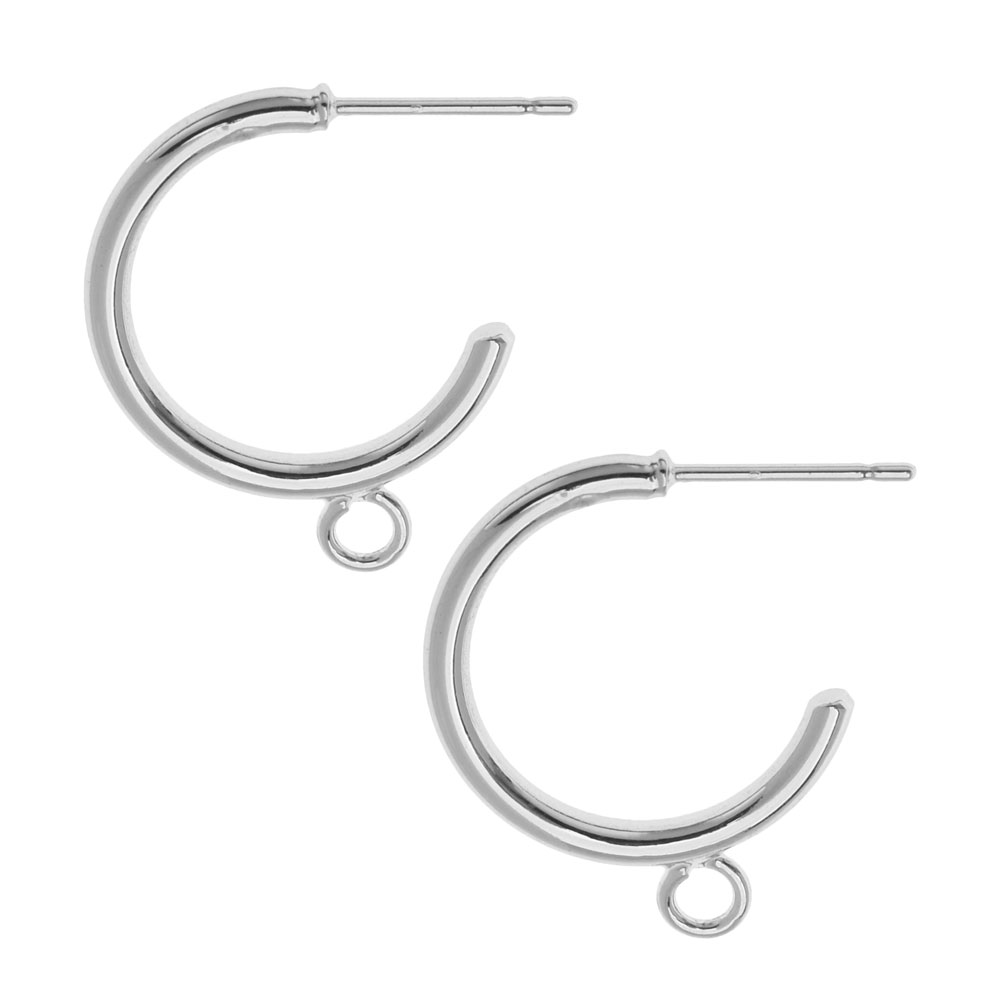 Earring Post, Hoop with Loop 23mm, 2 Pairs, Platinum Tone