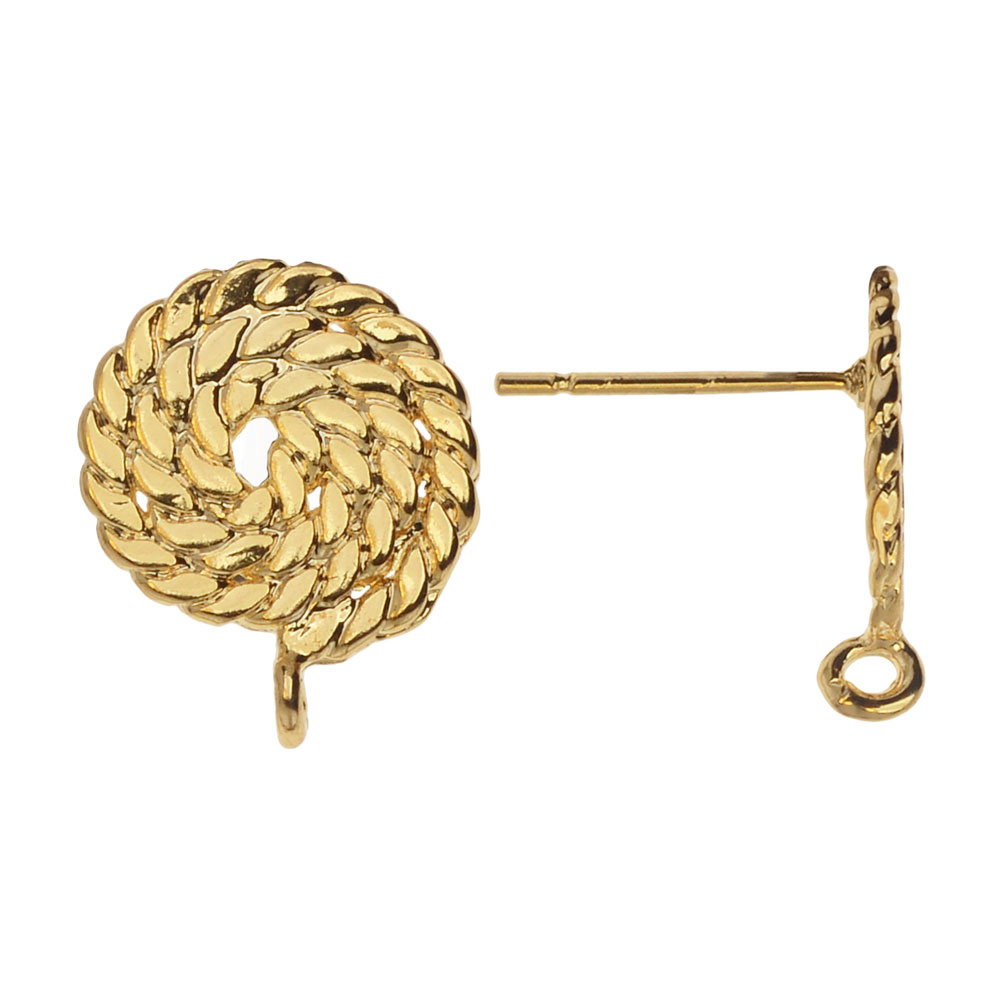Earring Post, Rope Circle with Loop 12x15mm, 2 Pairs, Gold Plated