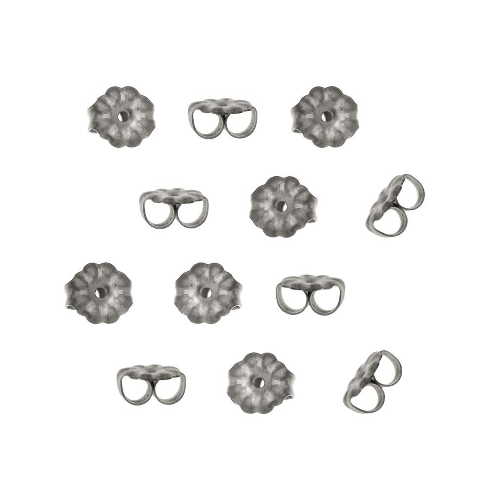 Hypo-Allergenic Titanium Earring Backs, 5x6mm, 12 Pieces