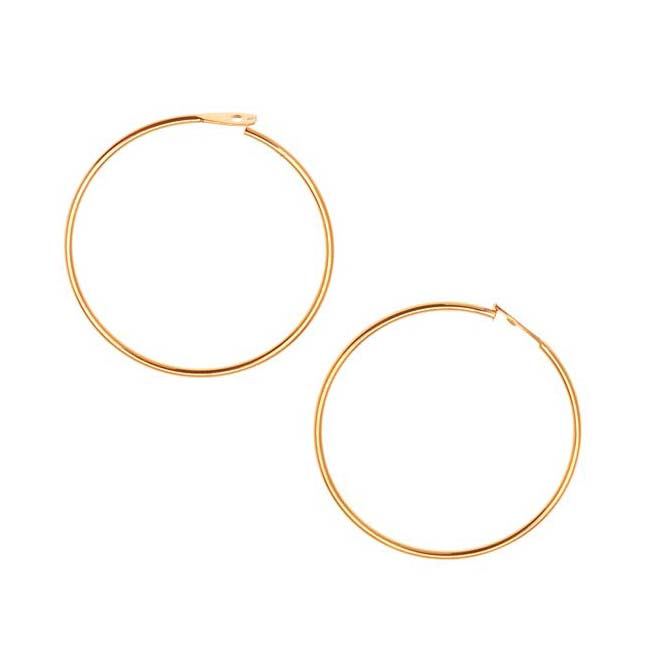 22K Gold Plated Beading Hoop Earrings 3/4 Inch (20)