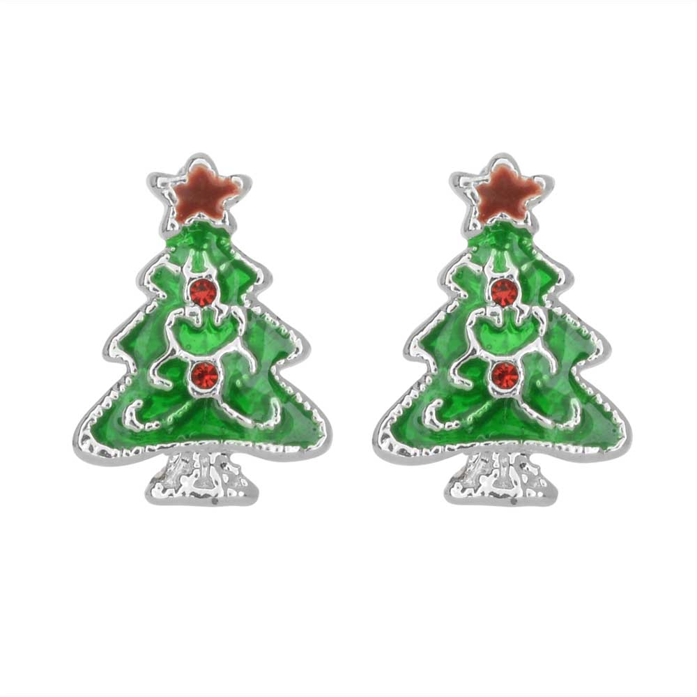 Final Sale - Earring Posts, Christmas Tree with Swarvoski Crystals, 16mm, 1 Pair, Silver Plated / Enamel