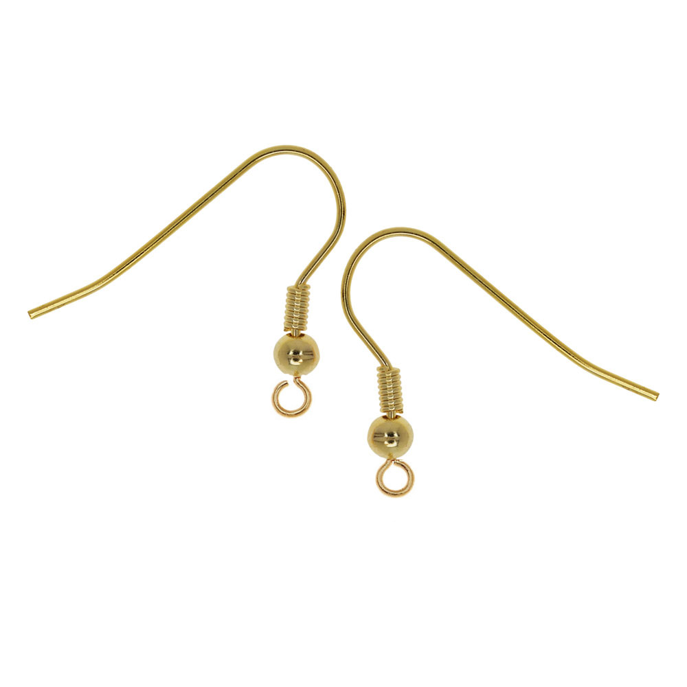 Final Sale - French Ear Wire, with Coil and Ball 20mm Long, 10 Pairs, Gold Plated