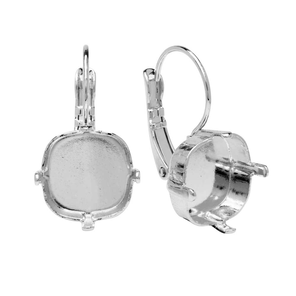 Final Sale - Gita Jewelry Setting for Swarovski Crystal, Square Leverback Earrings, 12mm Cushion, Rhodium Plated
