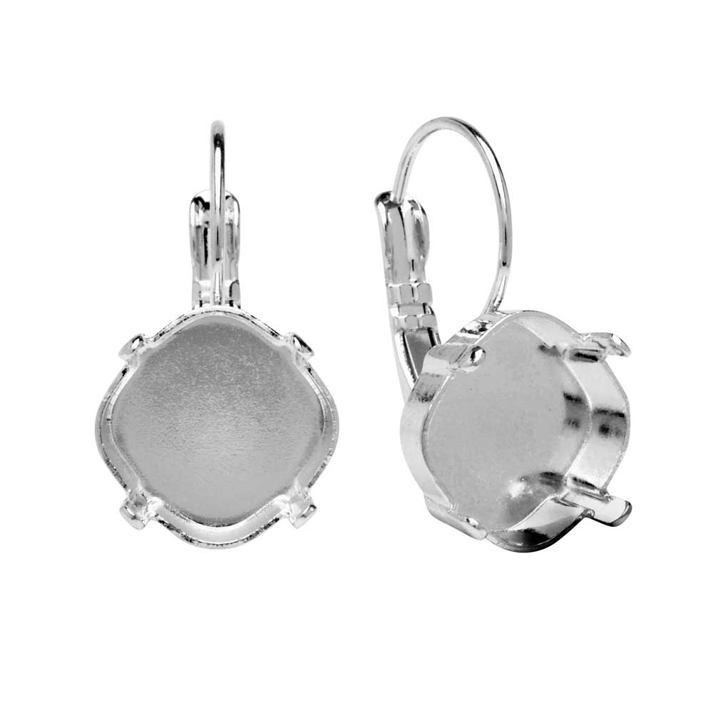 Gita Jewelry Setting for Swarovski Crystal, Tilted Square Earrings, 12mm Cushion Stone, Rhodium Plt