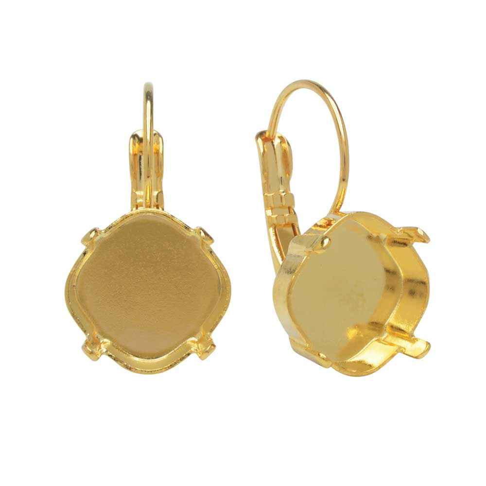 Gita Jewelry Setting for Swarovski Crystal, Tilted Square Earrings for 12mm Cushion Stone, Gold Plt