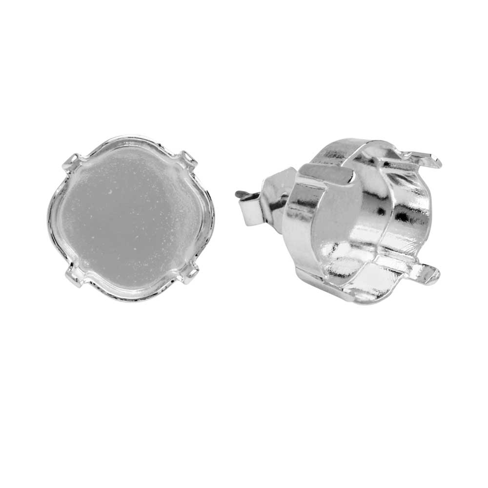 Gita Jewelry Setting for Swarovski Crystal, Stud Post Earrings, 12mm Cushion Stone, Rhodium Plated
