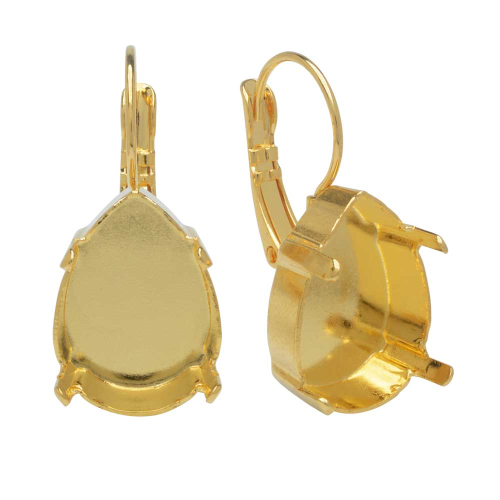 Gita Jewelry Setting for Swarovski Crystal, Leverback Earrings for 18x13mm Pear Drop, Gold Plated