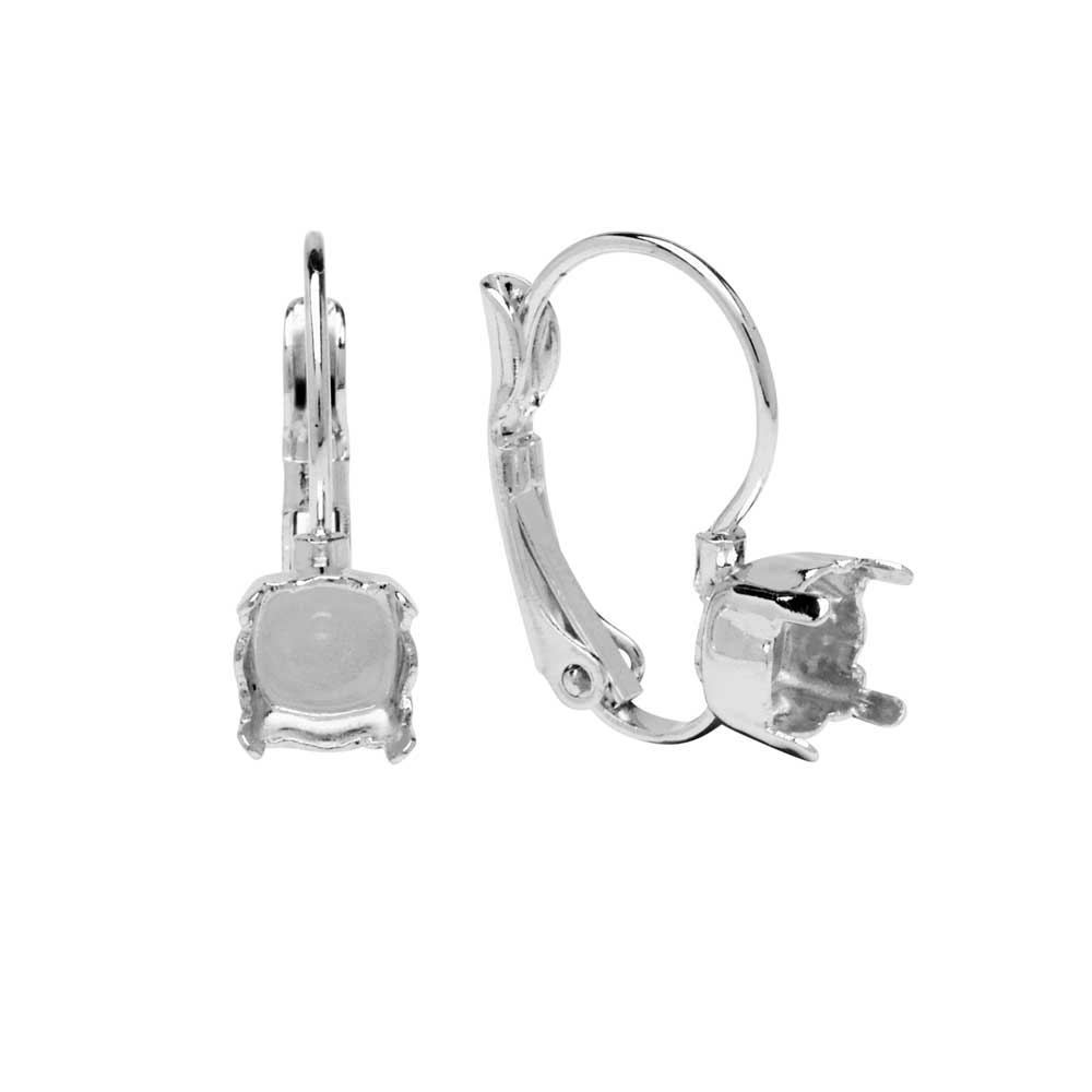 Gita Jewelry Setting for Swarovski Crystal, Leverback Earrings for SS29 Chaton, Rhodium Plated