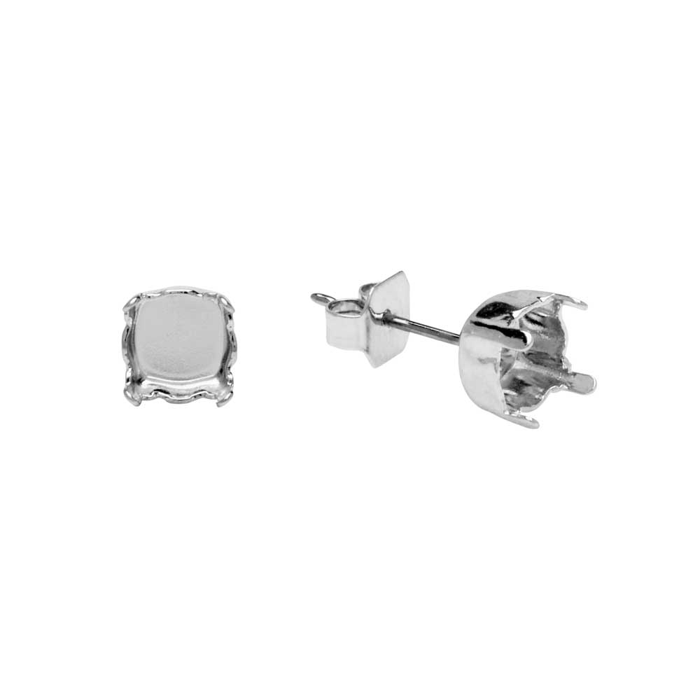 Gita Jewelry Setting for Swarovski Crystal, Stud Post Earrings for SS29 Chaton, Rhodium Plated