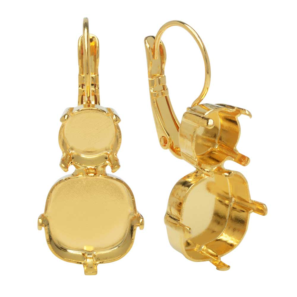 Final Sale - Gita Jewelry Setting for Swarovski Crystal, Pave Earrings for SS39 Chaton & 12mm Cushion, Gold Plt