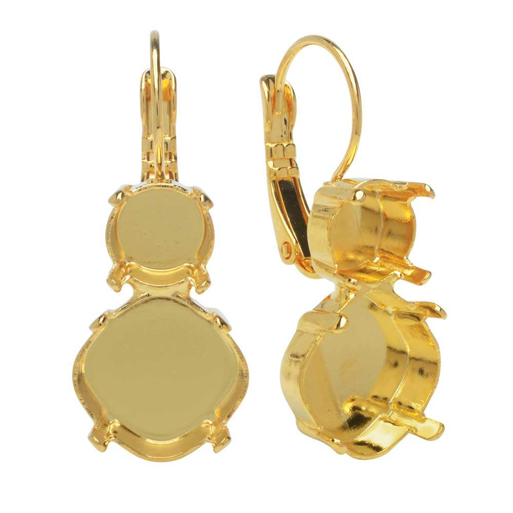 Gita Jewelry Setting for Swarovski Crystal,Tilt Square Earrings,SS39 Chaton,12mm Cushion Stone, Gold