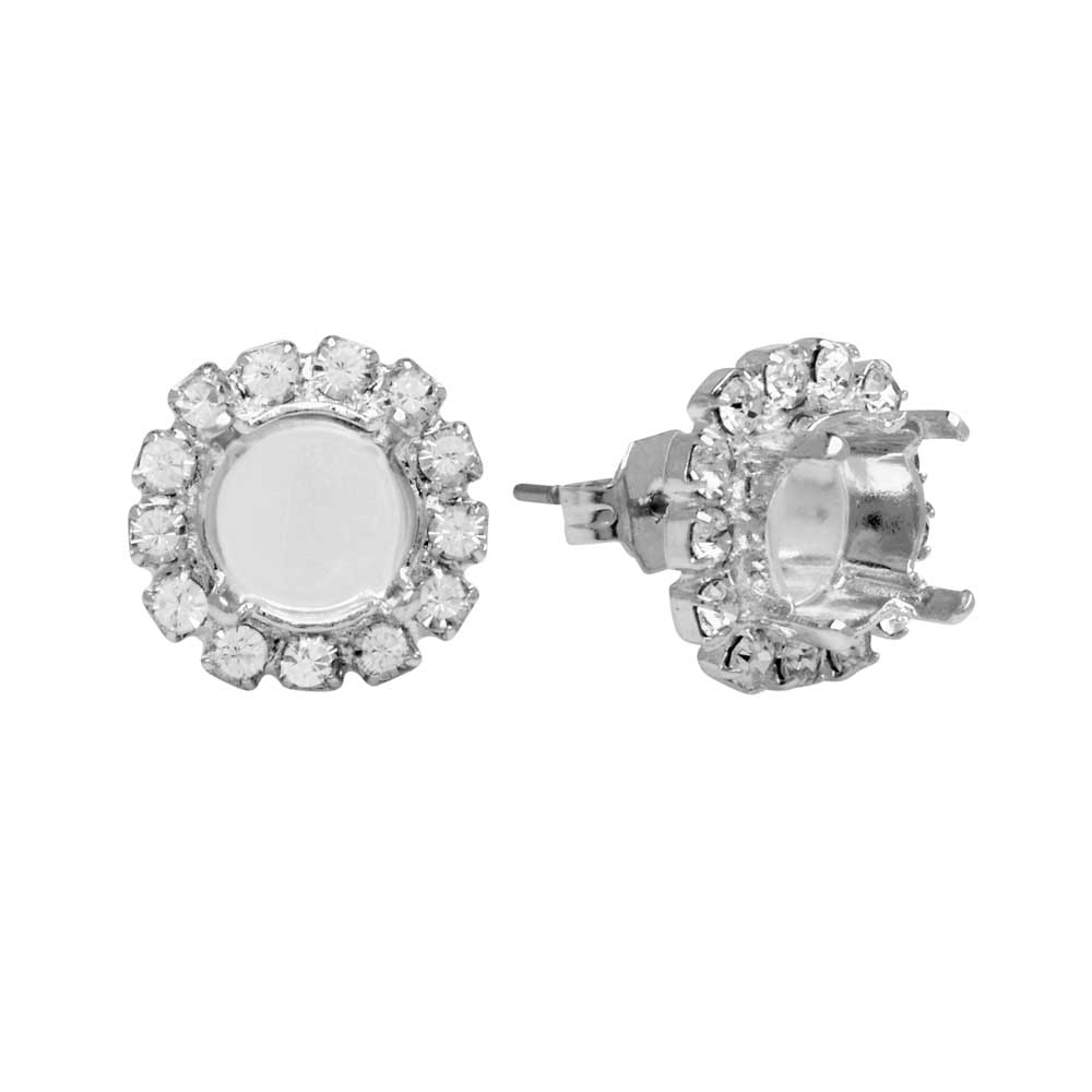 Gita Jewelry Setting for Swarovski Crystal, Post Earrings for SS39 Chaton w/13 Crystals, Rhodium Plt