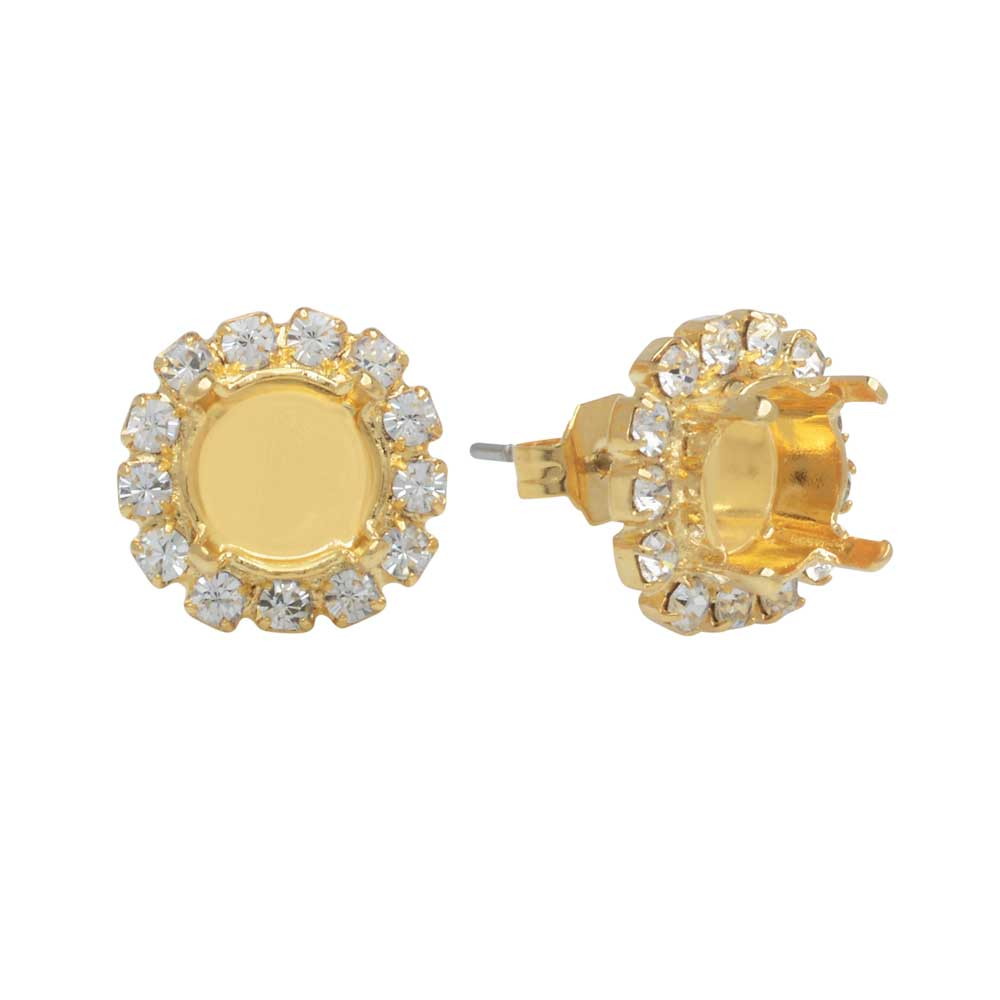Gita Jewelry Setting for Swarovski Crystal, Post Earrings for SS39 Chaton-13 Crystals, Gold Plated