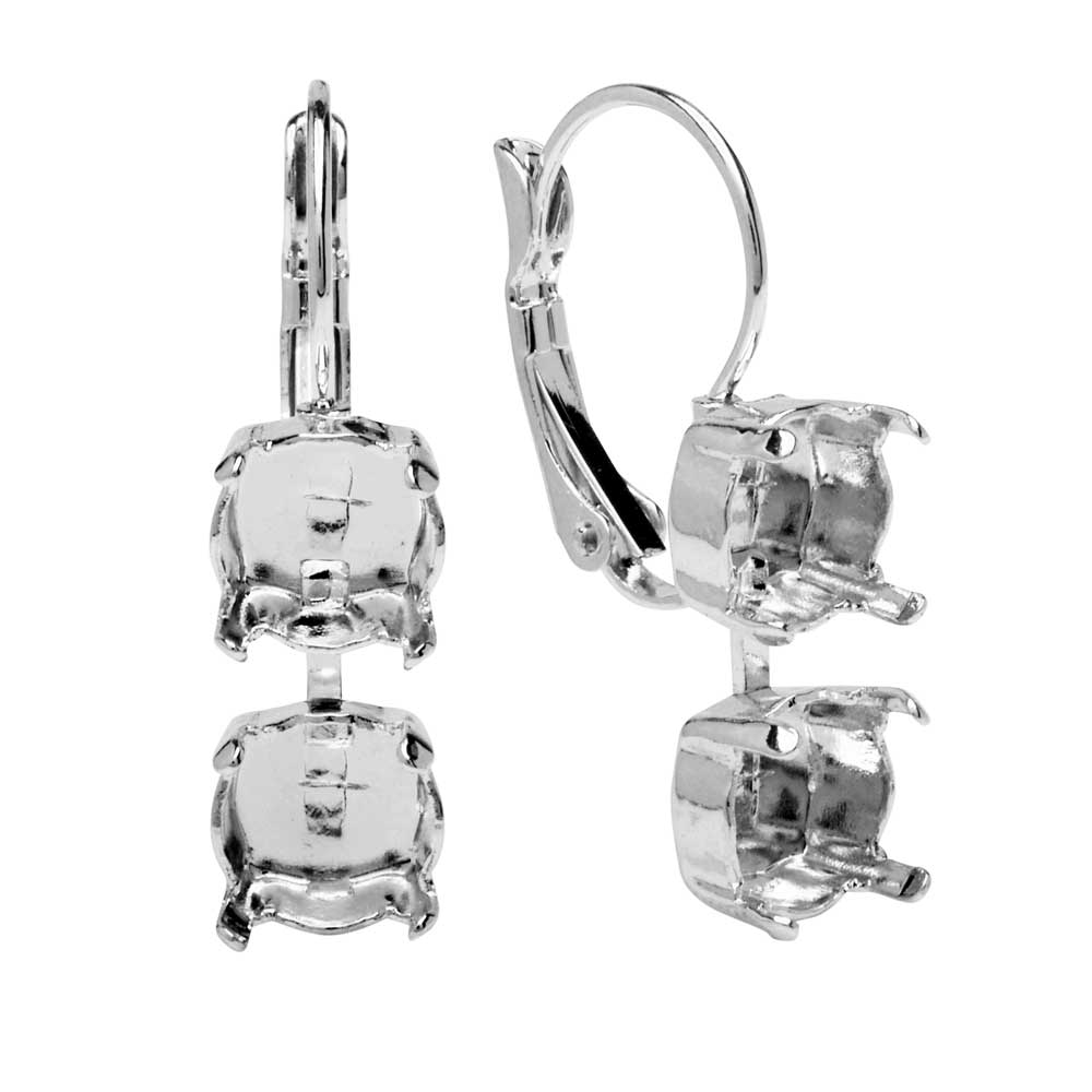 Gita Jewelry Setting for Swarovski Crystal, Chain Leverback Earring for SS39 Chatons, Rhodium Plated