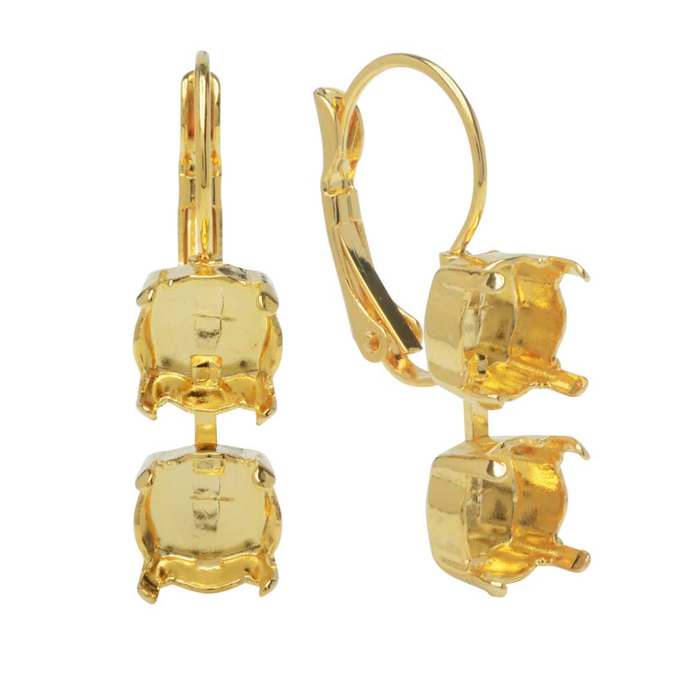 Gita Jewelry Setting for Swarovski Crystal, Chain Leverback Earring for 2 SS39 Chatons, Gold Plated