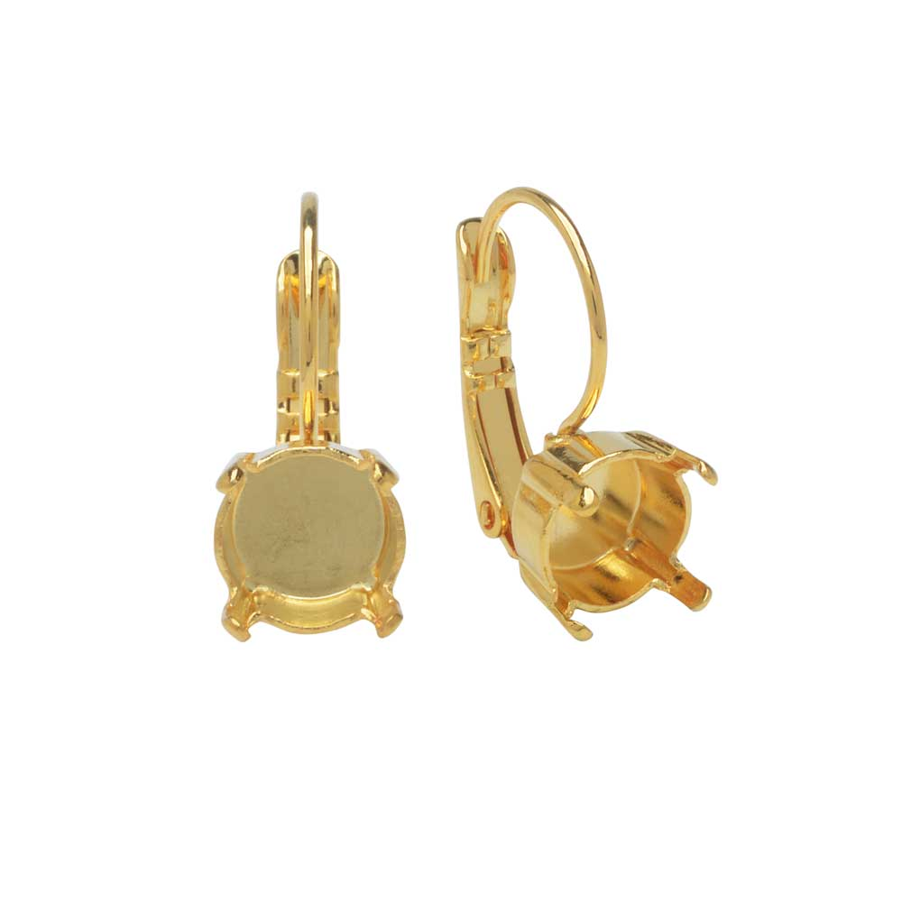 Gita Jewelry Setting for Swarovski Crystal, Leverback Earrings for SS39 Chaton, 1 Pair, Gold Plated