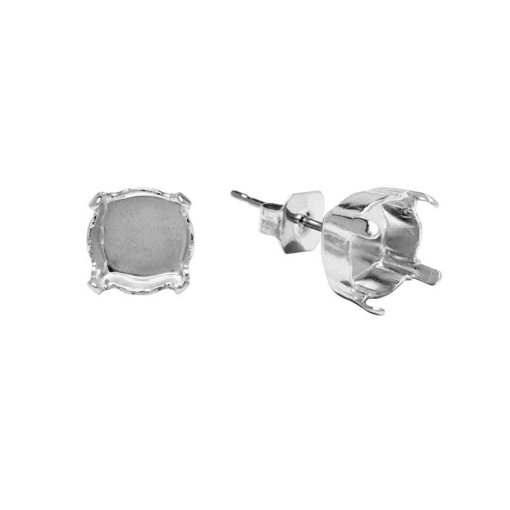 Gita Jewelry Setting for Swarovski Crystal, Stud Post Earrings for SS39 Chaton, Rhodium Plated