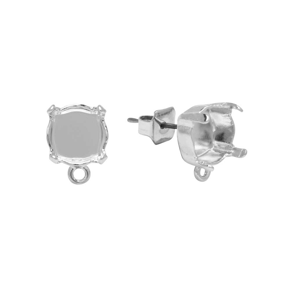 Gita Jewelry Setting for Swarovski Crystal, Stud Post Earrings w/Loop, SS39 Chaton, Rhodium Plt