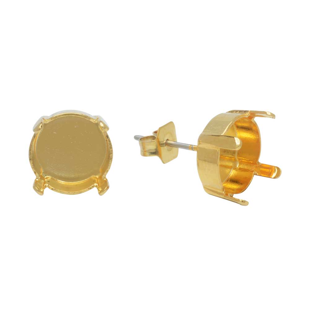 Final Sale - Gita Jewelry Setting for Swarovski Crystal, Stud Post Earrings for 10mm Rivoli, 1 Pair, Gold Plated