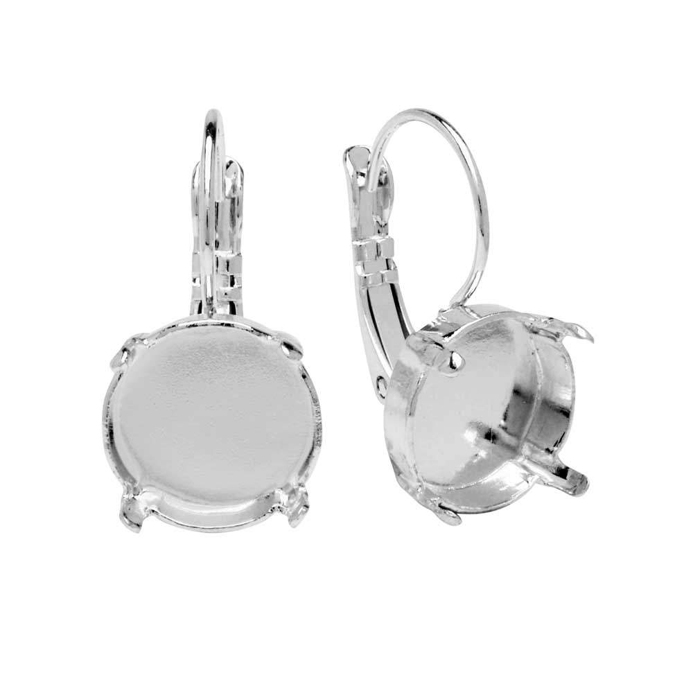 Gita Jewelry Setting for Swarovski Crystal, Leverback Earrings for 12mm Rivoli, Rhodium Plated