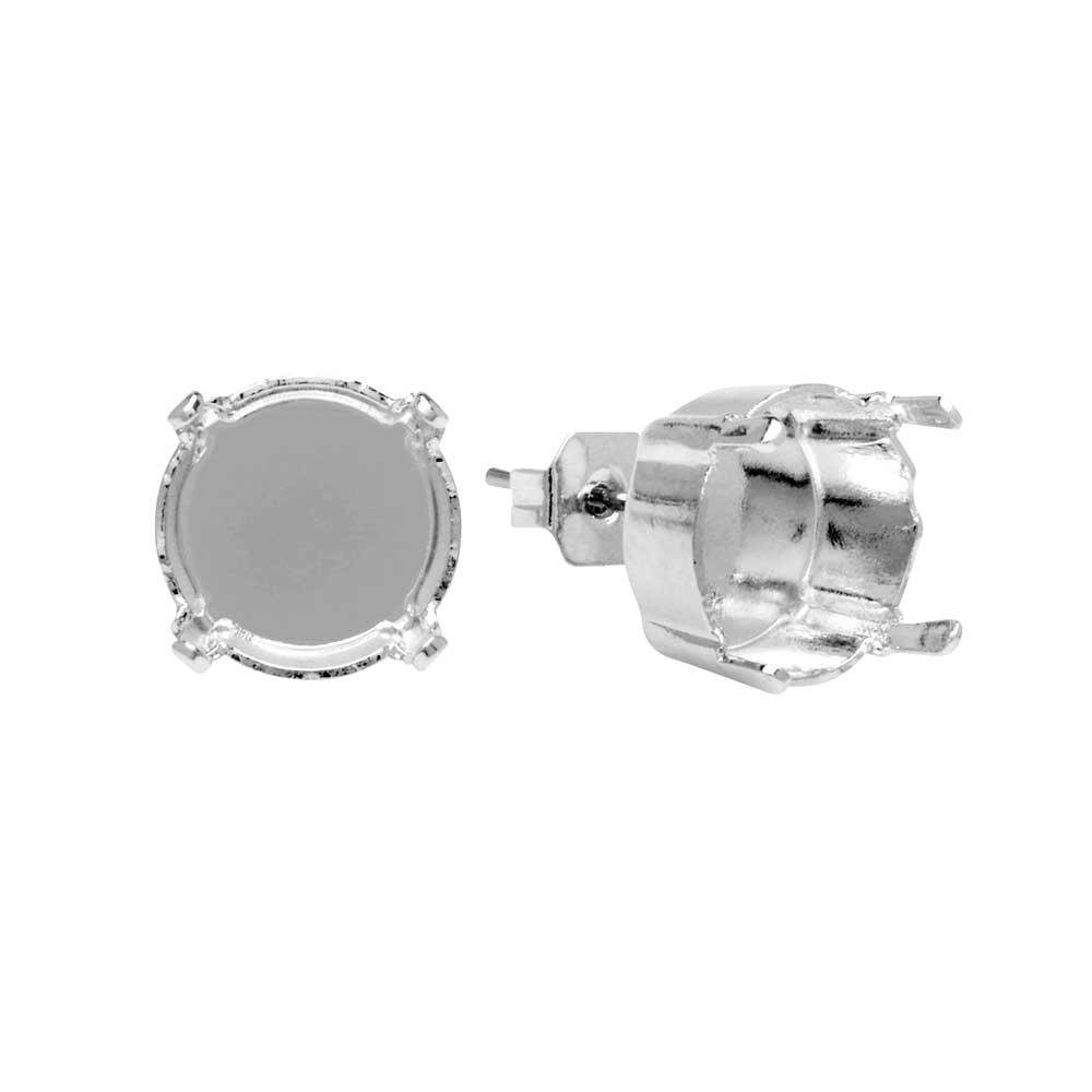 Gita Jewelry Setting for Swarovski Crystal, Stud Post Earrings for SS47 Rivoli, Rhodium Plated