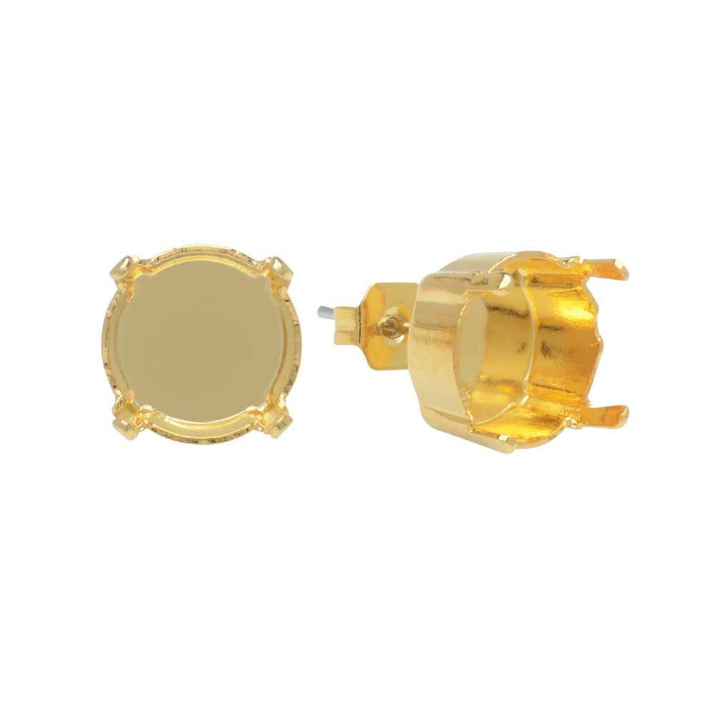 Gita Jewelry Setting for Swarovski Crystal, Stud Post Earrings for SS47 Rivoli, 1 Pair, Gold Plated