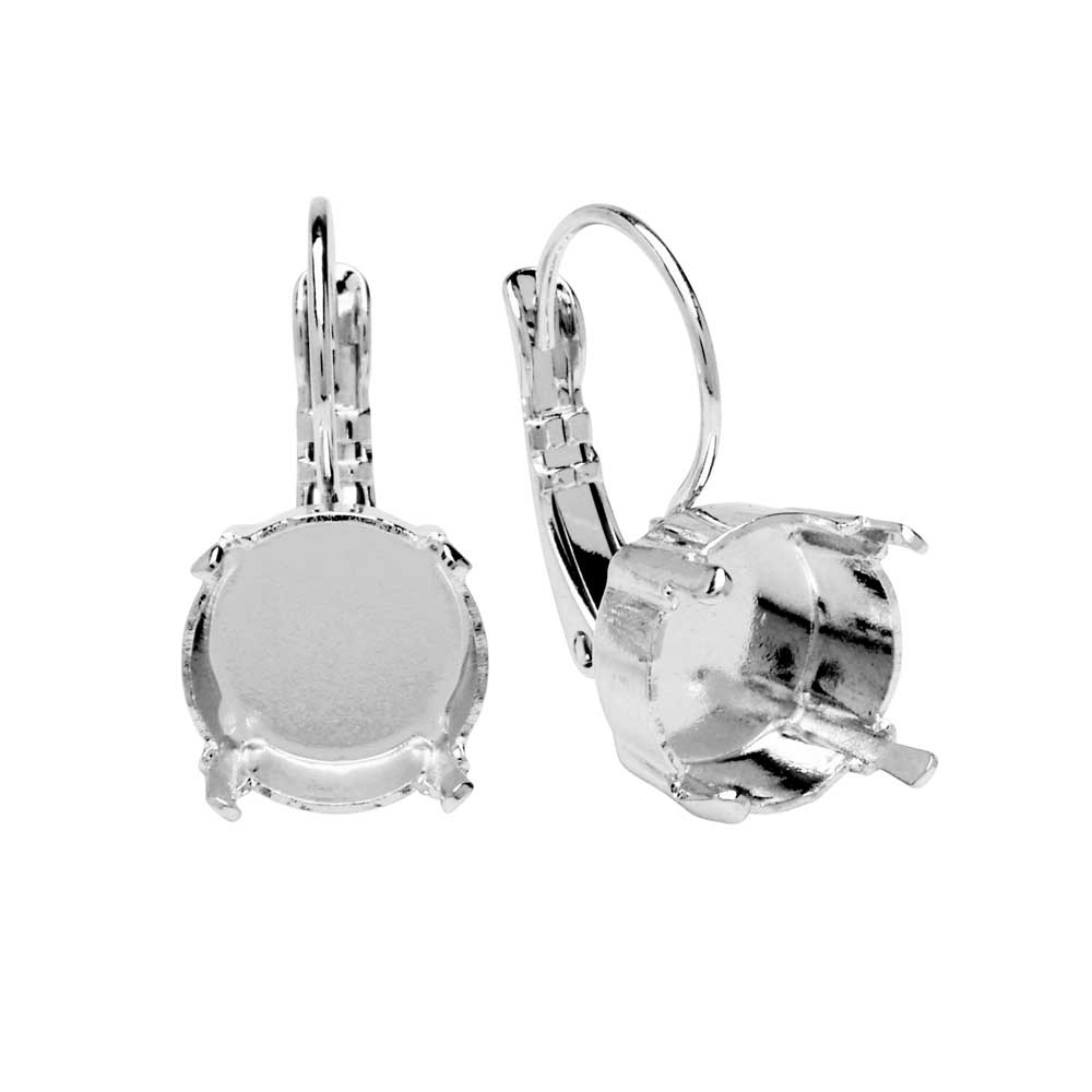Gita Jewelry Setting for Swarovski Crystal, Leverback Earrings for SS47 Rivoli, Rhodium Plated