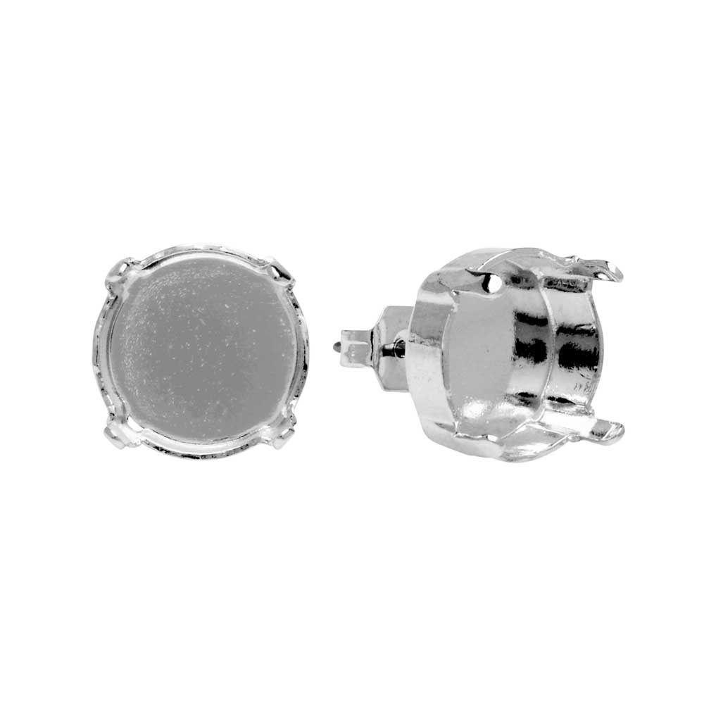 Gita Jewelry Setting for Swarovski Crystal, Stud Post Earrings for 12mm Rivoli, Rhodium Plated