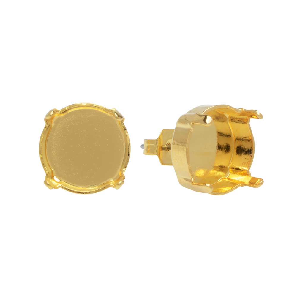 Gita Jewelry Setting for Swarovski Crystal, Stud Post Earrings for 12mm Rivoli, 1 Pair, Gold Plated