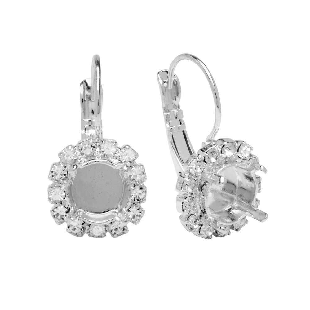 Gita Jewelry Setting for Swarovski Crystal, Leverback Earrings SS39 Chaton, 13 Stone, Rhodium Plated