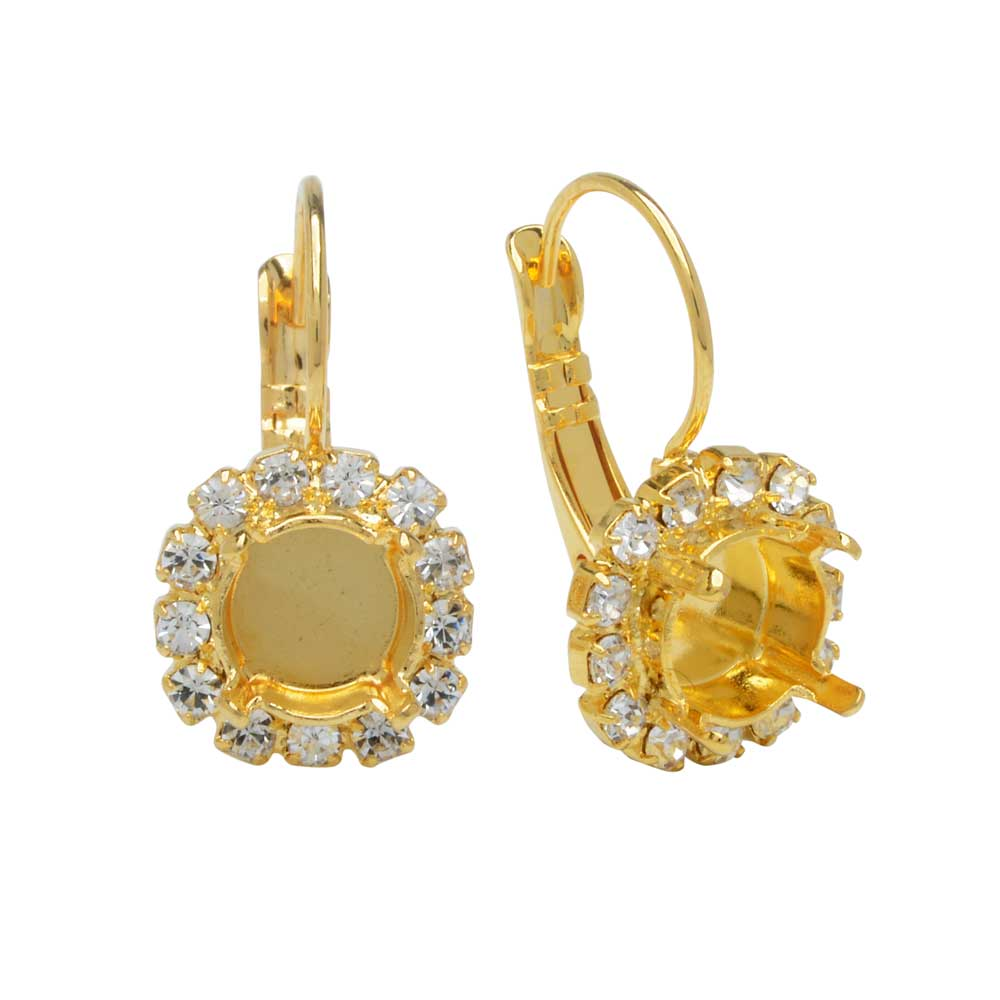 Gita Jewelry Setting for Swarovski Crystal, Pave Earrings for SS39 Chaton w/13 Crystals, Gold Plt