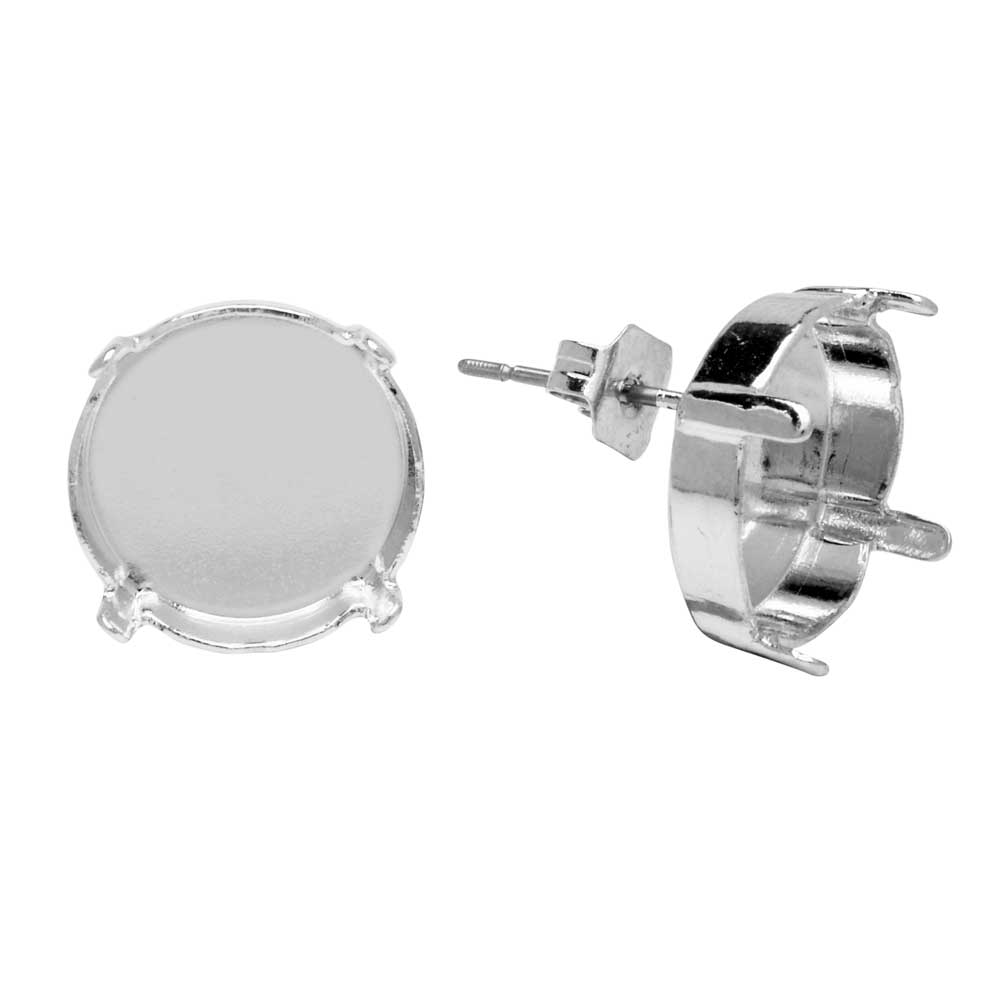 Gita Jewelry Setting for Swarovski Crystal, Stud Post Earrings for 14mm Rivoli, Rhodium Plated