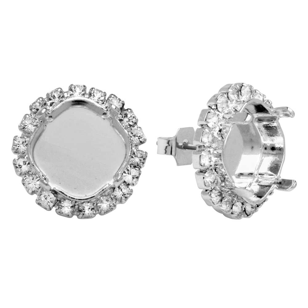 Gita Jewelry Setting for Swarovski Crystal, Stud Post Earrings, 12mm Cushion w/18 Crystals, Rhodium