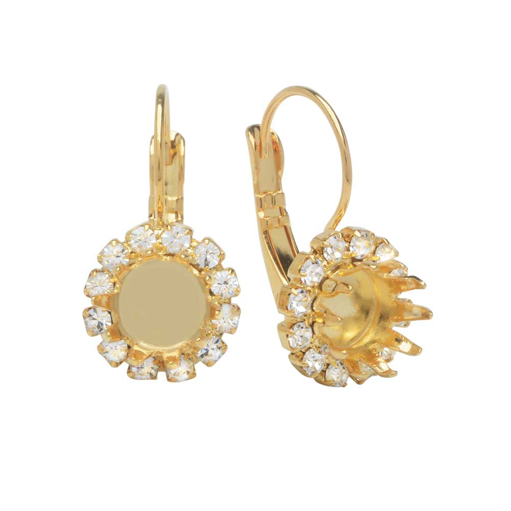 Final Sale - Gita Jewelry Setting for Swarovski Crystal, Crown Earrings for SS39 Chaton w/12 Crystals, Gold Plt